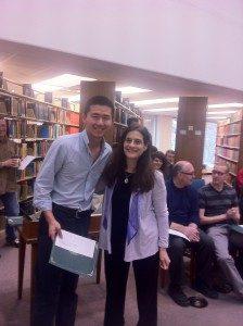 Yuchen Su Receives a L.C. Plant Award Scholarship from Math Undergraduate Program Chair Jeanne Wald in April 2013