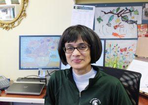 Professor Krishnan in her office
