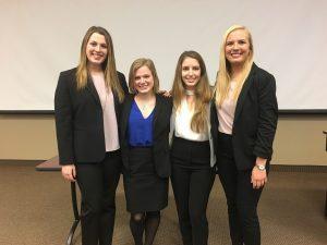 2018 All-MSU Sales Competition finalists: (from left to right) Alyssa Cutcher, Heidi Surdyk, Selma Kijamet, and Alix Blair.