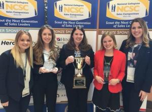 The national championship team (L-R): Keegan Dashner, Selma Kijamet, Valerie Good (coach), Heidi Surdyk (individual champion), and Alyssa Cutcher