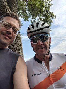 Justin Jagger runs into Lance Armstrong during RAGBRAI. Photo courtesy Justin Jagger.