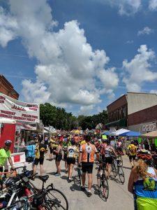RAGBRAI makes its way through a small Iowa town. Photo courtesy Justin Jagger