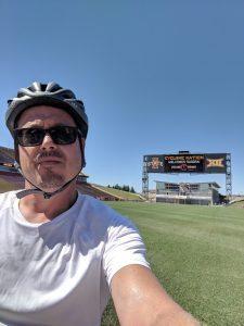 RAGBRAI brings Justin Jagger through Iowa State's football stadium. Photo courtesy Justin Jagger