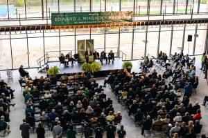 MSU interim President John Engler addresses attendees at the Edward J. Minskoff Pavilion naming ceremony Friday, Oct. 19. Photo by Kasra Raffi.