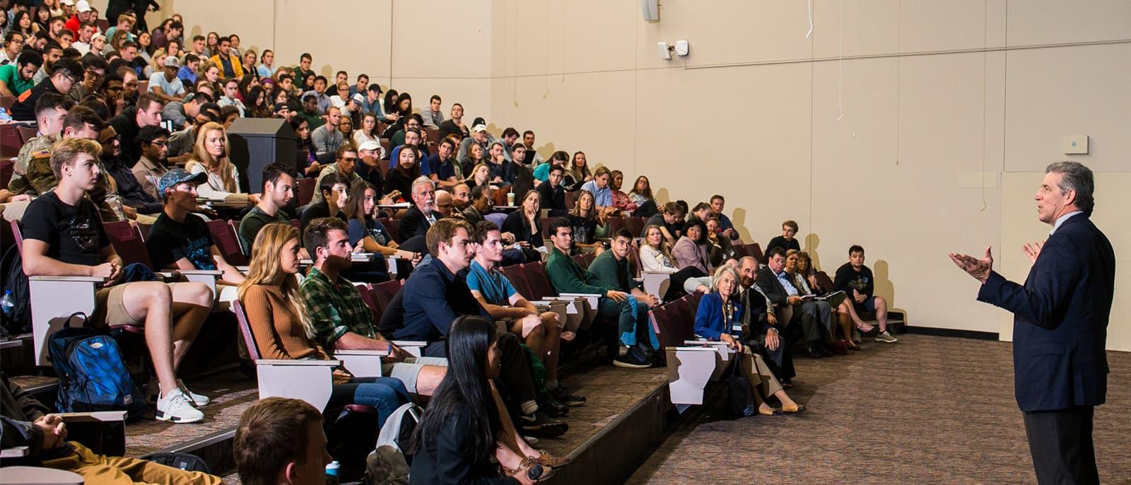 Craig Menear speaking at the 2017 Warrington Lecture