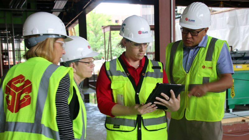 Pavilion construction workers