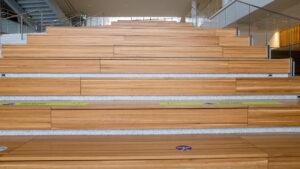Zoom background set on the grand staircase inside the Edward J. Minskoff Pavilion
