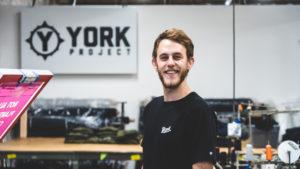 Broad alumnus Josh York inside his clothing manufacturing company York Project.