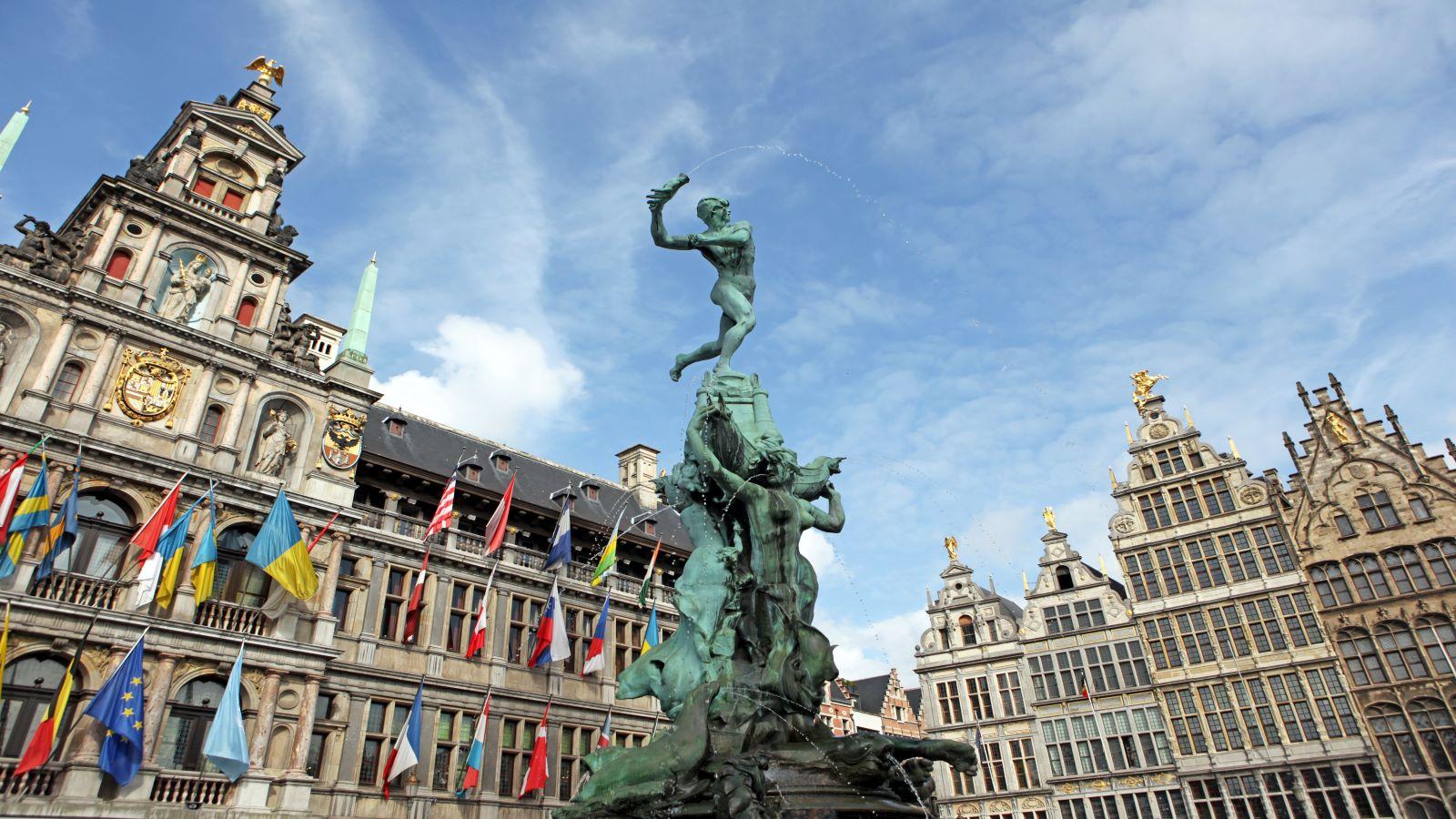 Brabo Statue in front of the City Hall in Antwerp, Belgium.