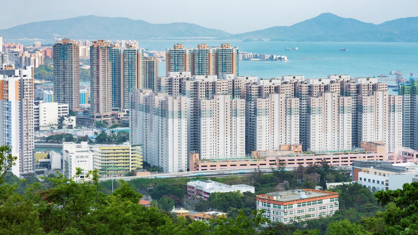 Aerial view of Tuen Mun city in Hong Kong