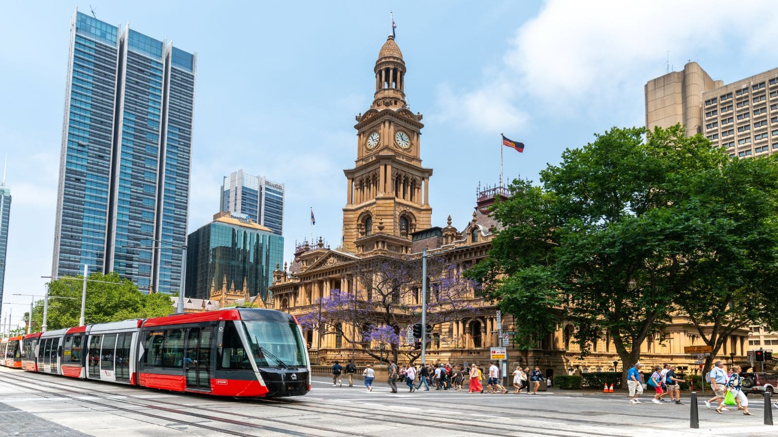 Sydney, Australia November 22, 2019: New Light Rail Tram travels along George Street to Circular Quay, Sydney CBD, New South Wales, Australia.