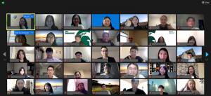 Zoom screenshot of Global Virtual Career Trek attendees.
