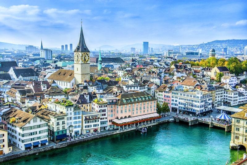 Zurich and Paris buildings along waterside
